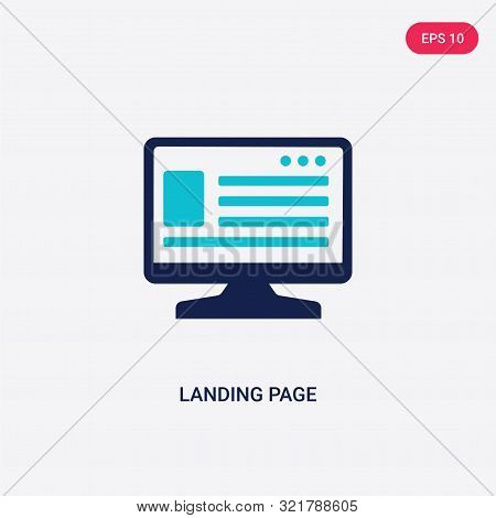 two colored landing page vector icon from big data.