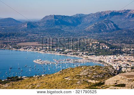 Port De Pollenca, Mallorca, Seen From Es Colomer With Distant Mountains, September 2018