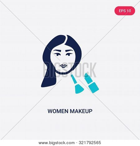 Two Colored Women Makeup Vector Icon From Beauty. 2 Color Women Makeup Concept. Blue Women Makeup Si