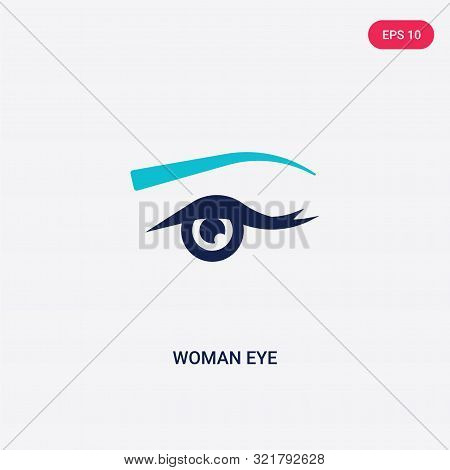 Two Colored Woman Eye Vector Icon From Beauty. 2 Color Woman Eye Concept. Blue Woman Eye Sign. Woman