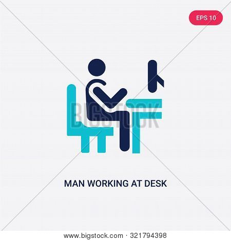 Two Colored Man Working At Desk Vector Icon From Behavior. 2 Color Man Working At Desk Concept. Blue