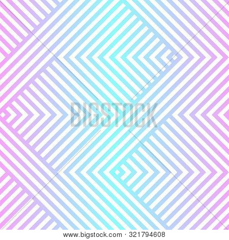Vector Geometric Seamless Pattern With Chevron, Zigzag Lines, Stripes. Neon Holographic Gradient, Bl