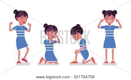 Girl Child 7 To 9 Years Old, Negative Female Black School Age Kid. Unhappy Angry Schoolgirl Crying,