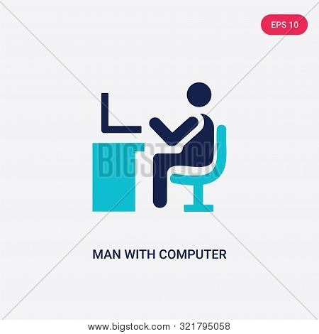 two colored man with computer screen vector icon from behavior.