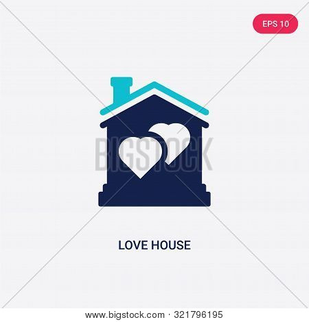 two colored love house vector icon from birthday party and wedding.