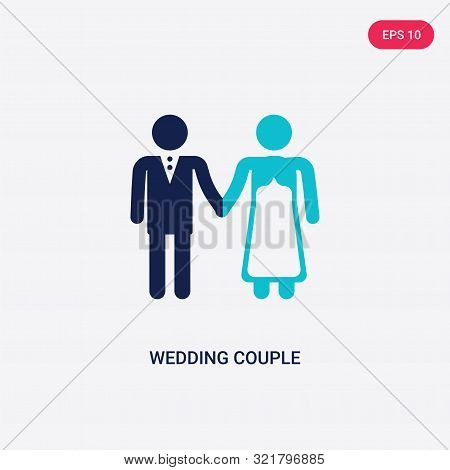 Two Colored Wedding Couple Vector Icon From Birthday Party And Wedding. 2 Color Wedding Couple Conce