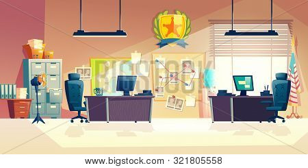 Police station or department, investigation bureau room interior with police officers work desks, detectives, special agents workplaces, office furniture, map and pin board cartoon vector illustration poster