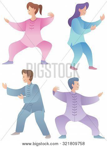 Set Of 4 Flat Design Characters Practicing Qigong Or Tai Chi.