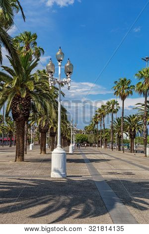 Barcelona Port Vell Promename On Sunny Summer Day. Beautiful White Street Lights, Tall Green Palms O