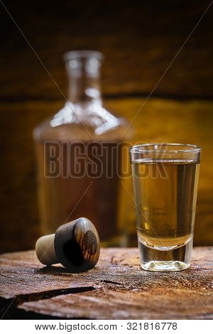 Alcoholic Beverages, Cachaça, Drips, Rum And Brandy. Selection Of Strong And Hard Alcoholic Drinks,