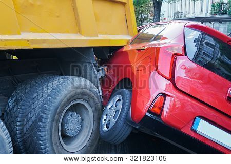 Truck And Car Crash Collision Accident On Gas Station, Traffic Accident. Car Crash