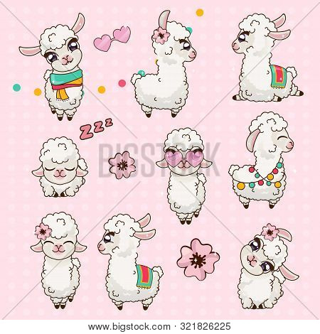Collection Cute Llama Alpaca Vicuna Set Kawaii. Sticker Pak Cute Animals. Lama With Big Eyes Examine