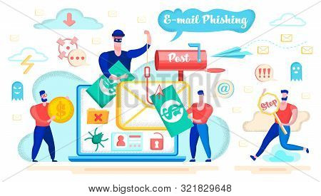 E-mail Phishing, Money Fraud In Internet, Spyware Software Or Application Flat Vector Concept With R