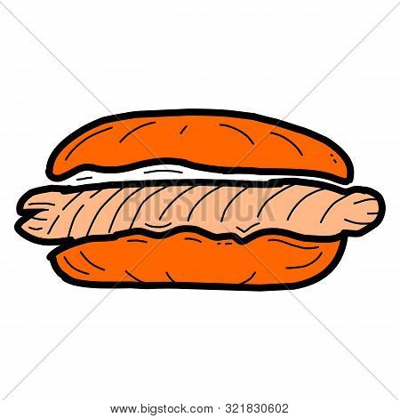 Hotdog Icon. Hotdog Icon Vector Flat Illustration For Graphic And Web Design Isolated On Black Backg