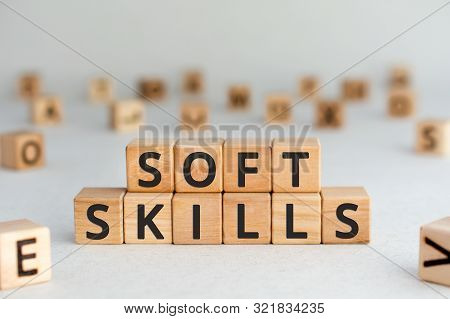 Soft Skills - Words From Wooden Blocks With Letters, Social  Communication Soft Skills Concept, Rand