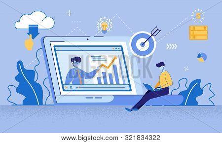 Cartoon Man Watching Online Course On Laptop. Coach Teaching Financial Literacy, Target Marketing, I