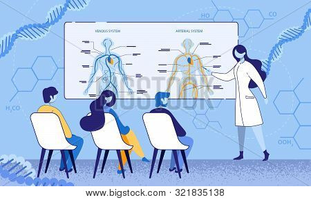Educational Process In Medical Office Illustration. Female Lecturer Teaching Students Human Anatomy
