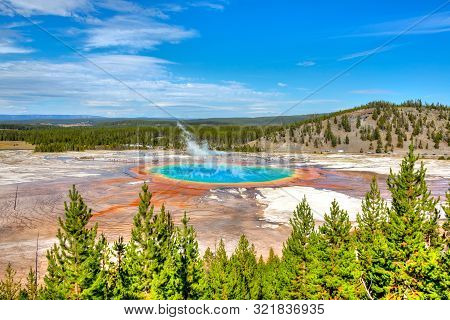Grand Prismatic Spring, The Largest Hot Spring At Yellowstone National Park, Is 200-330 Feet In Diam