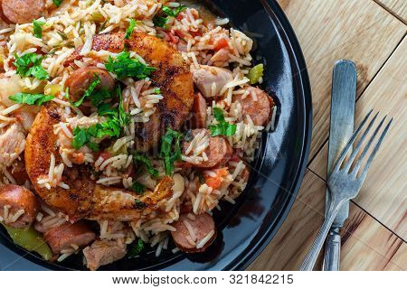 Creole Bowl Of Chicken Shrimp And Andouille Sausage Jambalaya With Rice