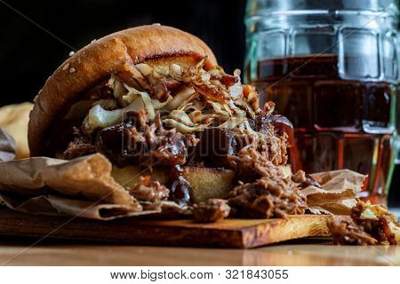 Southern American Cuisine Pulled Pork Burger Sandwich Topped With Cole Slaw