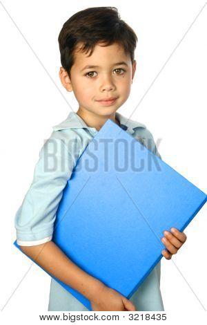 Young Boy With Blue Folder