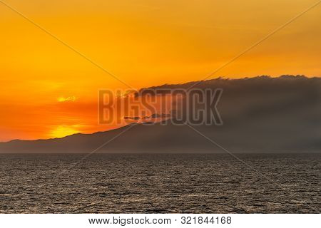 Bataan Province, Philippines - March 5, 2019: Shot 6/6 From Manila Bay On Mount Mariveles, Dormant V
