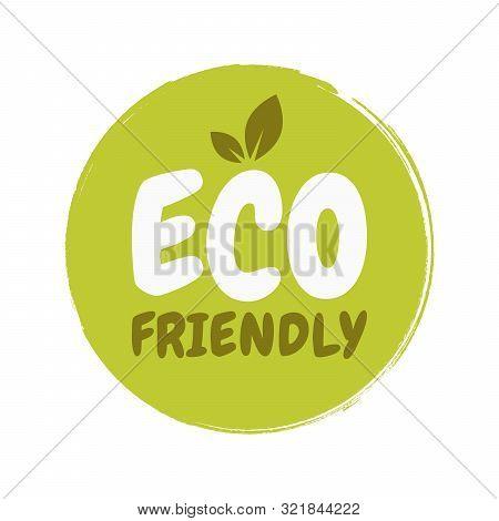 Eco Friendly Fresh Healthy Organic Vegan Food Badge. Vector Hand Drawn Illustration. Vegetarian Eco