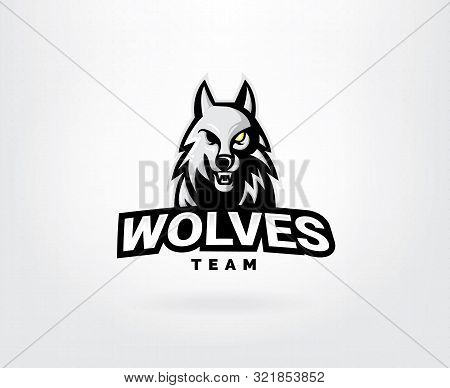 Professional Wolf Logo For A Sport Team. Wolves Logo Mascot Sport Illustration. Modern Vector Illust