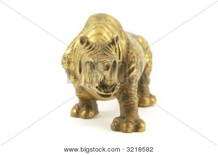 Rhino in bronze alloy commonly used in feng shui for protection poster