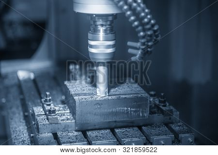 The Cnc Milling Machine Rough Cutting The Injection Mold Parts With Radius Index-able Tools. The Mou