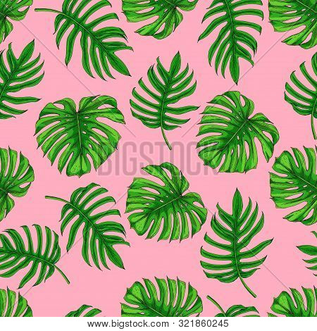 Seamless Pattern With The Image Of Palm Leaves. Bright Individual Green And Emerald Monster Leaves O