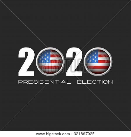 Usa Presidential Election Logo Number 2020 With Zeros In The Form Of Round Icons Of The American Fla