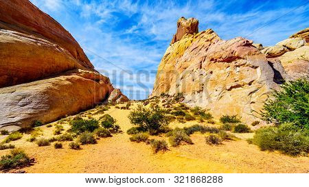 The Colorful Red, Yellow And White Sandstone Rock Formations At The White Dome Trail In The Valley O
