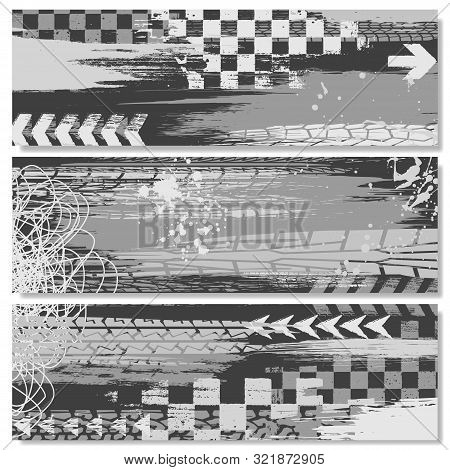 Gray Grunge Elements Tire Tracks Banners With Race Elements