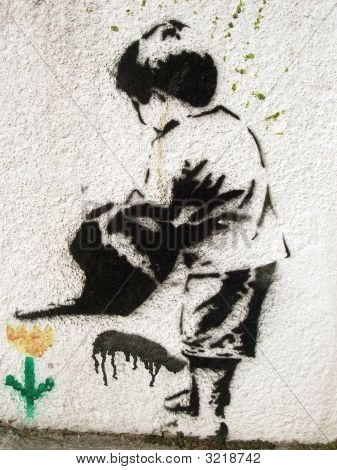 Grafitti Stencil Child And Flower