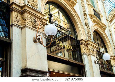 Milan, Italy, 20 December 2018:  Prada Store In Galleria Vittorio Emanuele Ii Shopping Mall In Milan