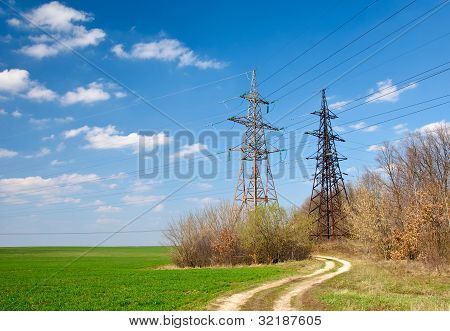 Two power tensions and lines near road