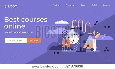Science Flat Tiny Persons Vector Illustration Landing Page Template Design. Stylized Scientists Labo