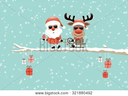 Santa Pulling Sleigh With Reindeer Sunglasses On Bough Turquoise