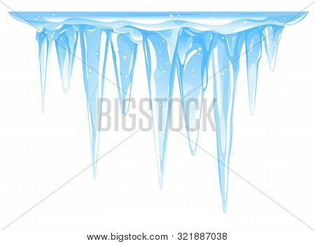 Blue Frozen Icicle Cluster Hanging Down From Snow-covered Ice Surface, Big Quality Detailed Group Of