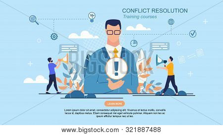 Prompt Poster It Is Written Conflict Resolution. Close-up Man In Suit Presenting An Internet Product