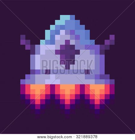 Flying Ufo Or Space-rocket, Power Element Of Space Pixel Game, Galaxy Ship With Shuttle, Pixelated S