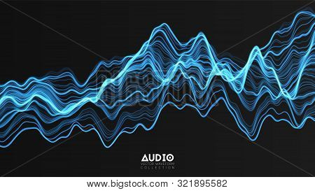 Vector 3d Echo Audio Wavefrom Spectrum. Abstract Music Waves Oscillation Graph. Futuristic Sound Wav