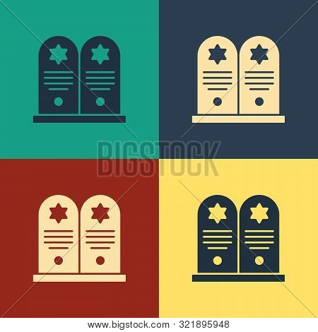 Color Tombstone with star of david icon isolated on color background. Jewish grave stone. Gravestone icon. Vintage style drawing. Vector Illustration poster