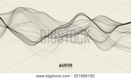 Vector 3d Echo Audio Wavefrom Spectrum. Abstract Music Waves Oscillation Graph. Futuristic Sound Wav