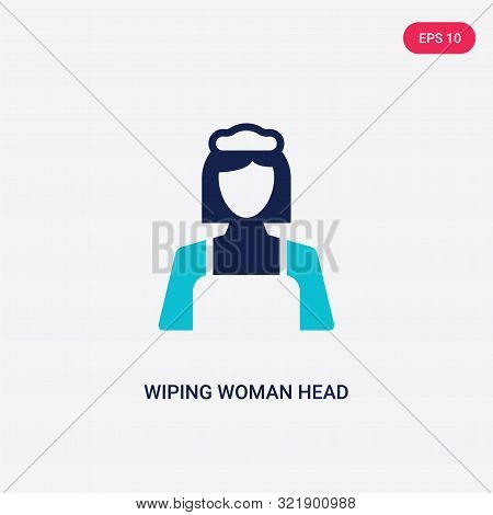 Two Colored Wiping Woman Head Vector Icon From Cleaning. 2 Color Wiping Woman Head Concept. Blue Wip