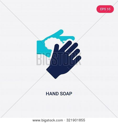 two colored hand soap vector icon from cleaning.