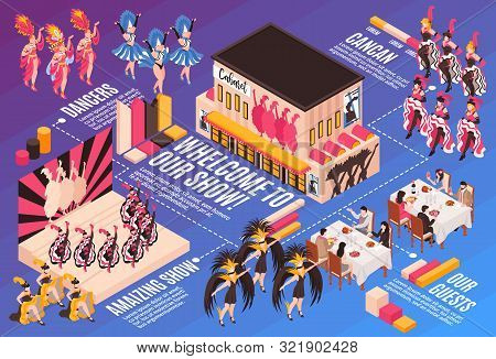 Cabaret Infographics Horizontal Illustration With Restaurant Guests And Dancers In Bright Colorful C