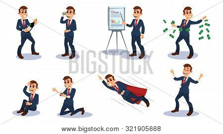 Businessman Character Flat Cartoon Vector Illustration. Office Worker In Different Positions. Man Ta