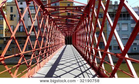 Steel bridge in Girona, Spain.